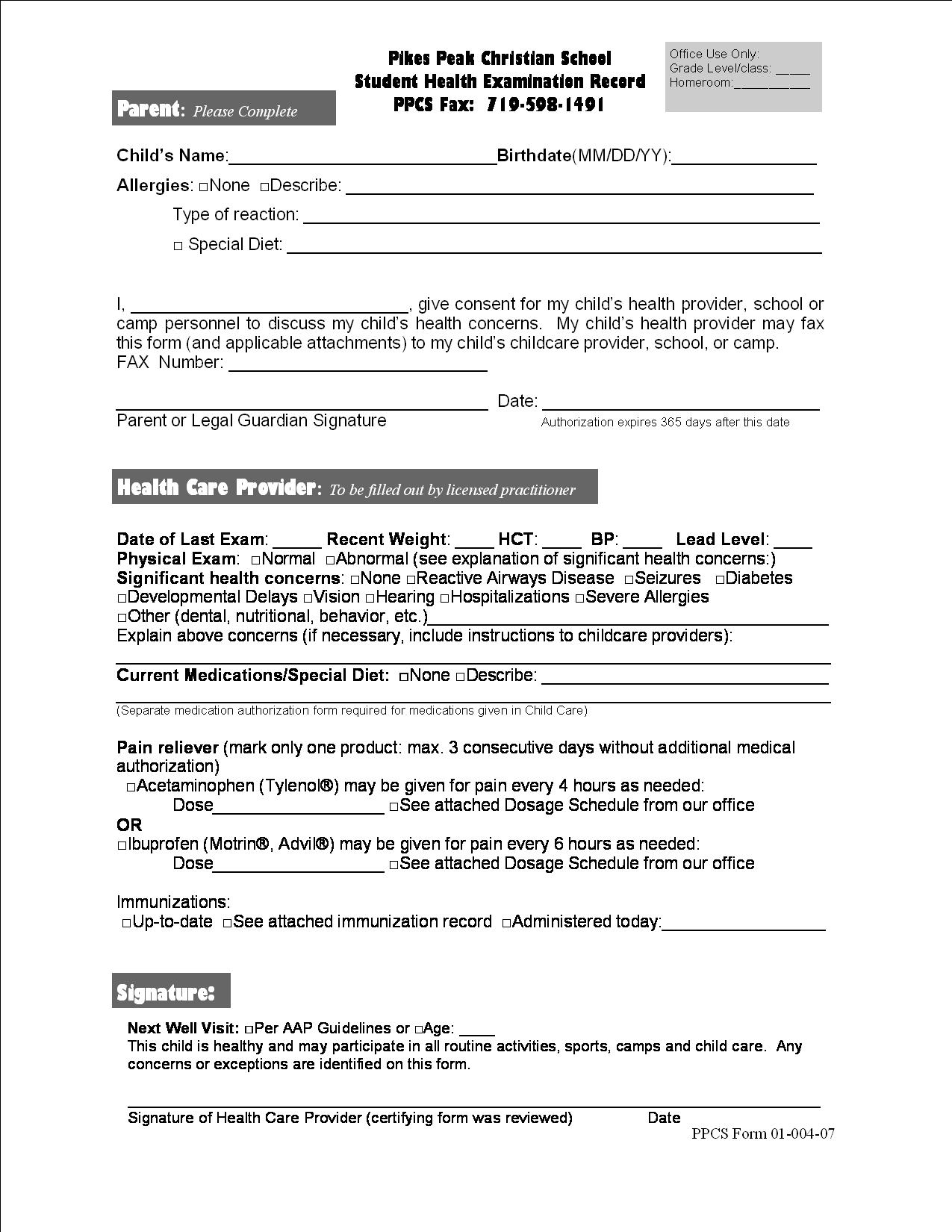 MS Athletic Forms - Pikes Peak Christian School